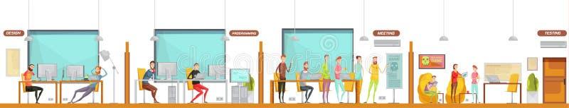 Composição do escritório do desenvolvimento do jogo ilustração stock
