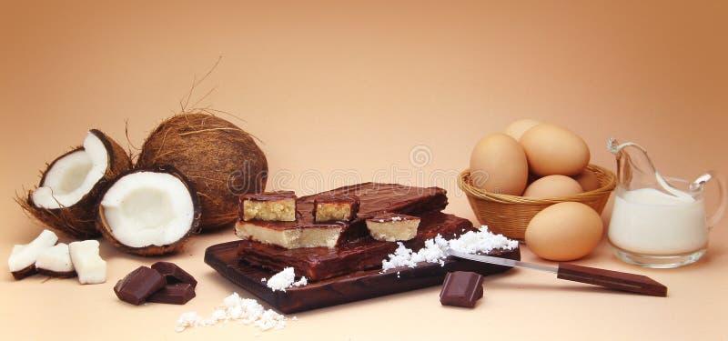 Composição do fudge do coco com ingredientes foto de stock royalty free