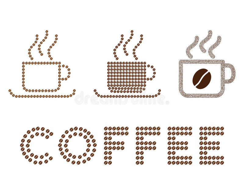 Composição do glyph dos copos de café com feijões de café ilustração stock