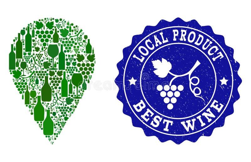 Composição do lugar local do vinho da uva e do melhor selo do Grunge do vinho ilustração royalty free