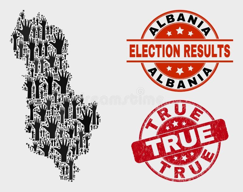 Composição do mapa de Albânia da votação e do selo verdadeiro riscado do selo ilustração stock