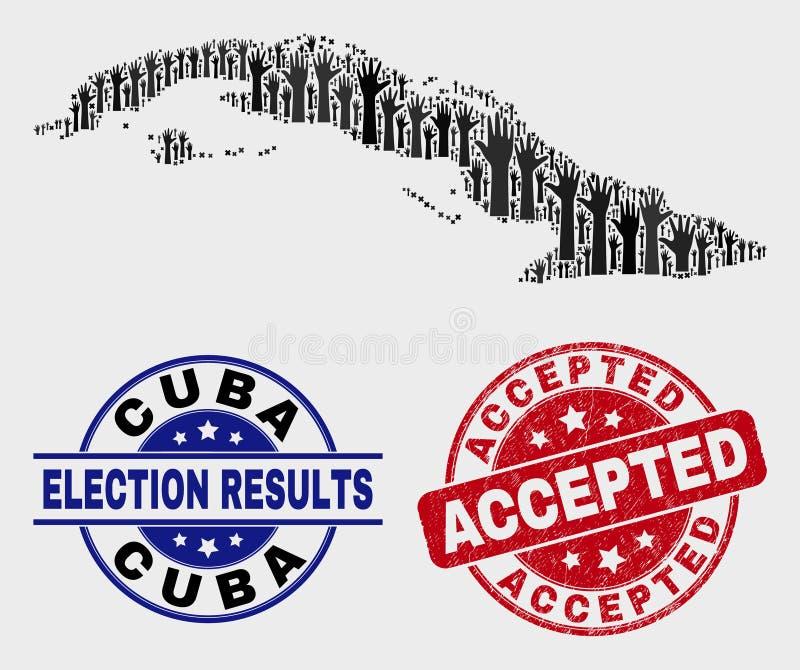 Composição do mapa de Cuba do voto e do selo aceitado riscado do selo ilustração royalty free