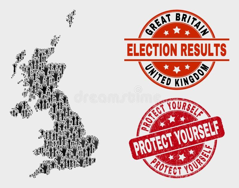 Composição do mapa de Reino Unido do voto e para afligir para proteger-se para carimbar ilustração royalty free