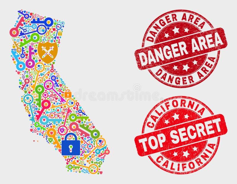 Composição do mapa do estado de Califórnia da privacidade e do selo do selo da zona de perigo da aflição ilustração do vetor