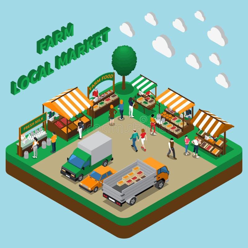 Composição do mercado de produtos agrícolas ilustração do vetor