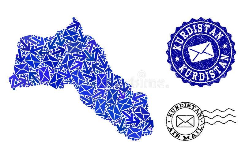 Composição do movimento do correio do mapa de mosaico do Curdistão e de selos Textured ilustração stock