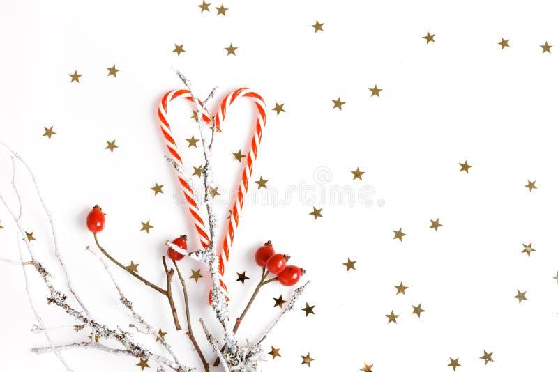 Composição do Natal Bagas vermelhas do rosehip em um fundo branco e em umas estrelas douradas Natal, ano novo, conceito do invern fotos de stock