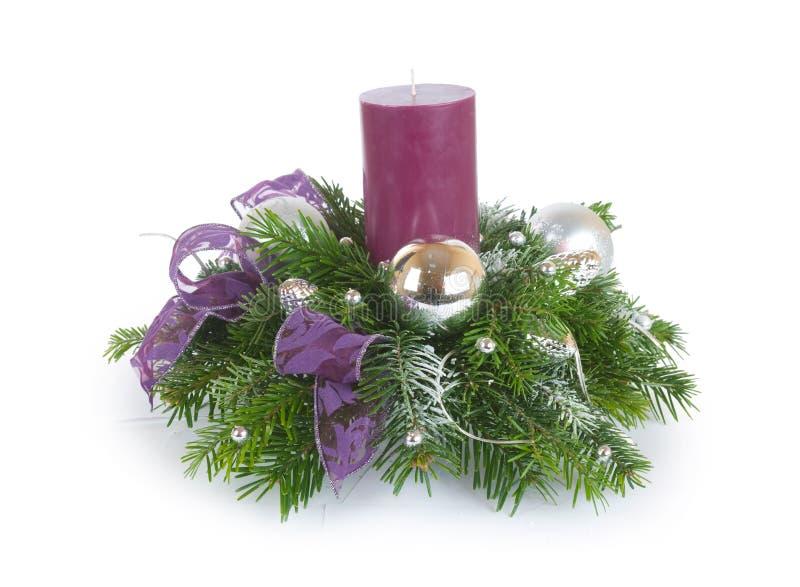 Composição do Natal com vela foto de stock royalty free