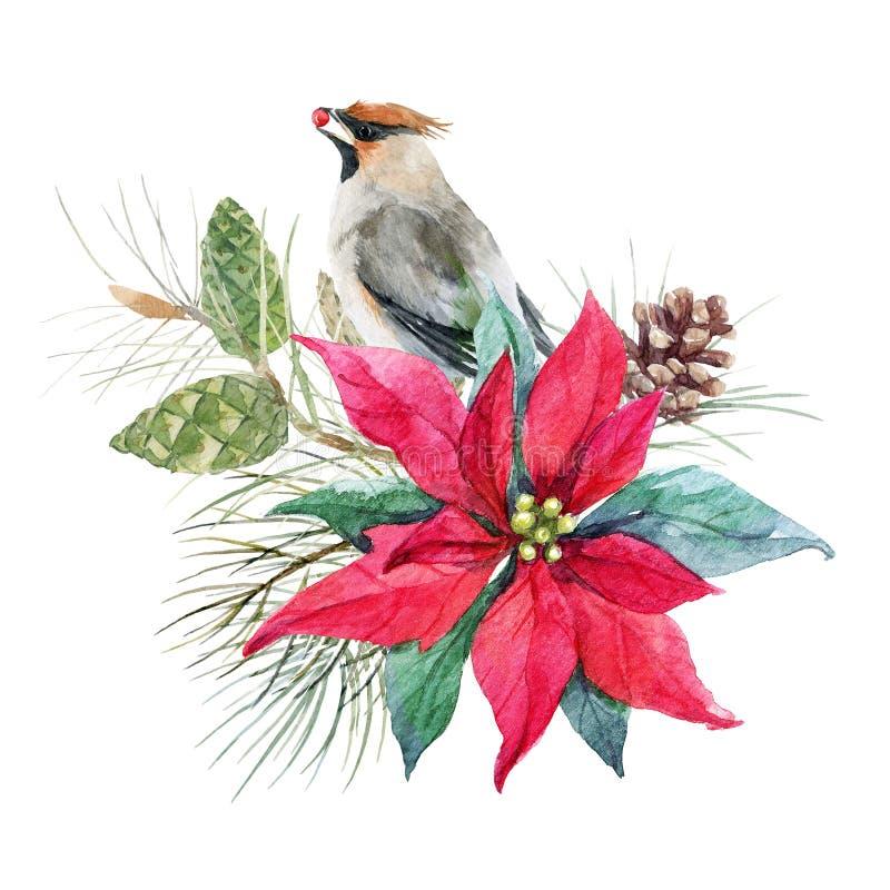 Composição do Natal da aquarela ilustração royalty free