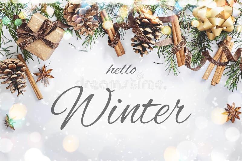 Composição do Natal e do ano novo A caixa de presente com fita, abeto ramifica com cones, anis de estrela, canela no fundo branco imagens de stock
