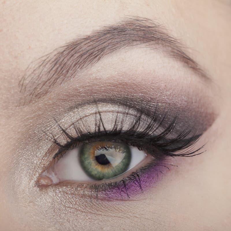 Composição do olho EyesMake-up verde bonito Detalhe da composição do feriado Chicotes falsos fotografia de stock