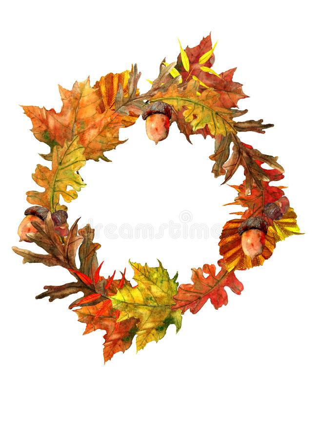 Composição do outono com folhas bonitas ilustração royalty free