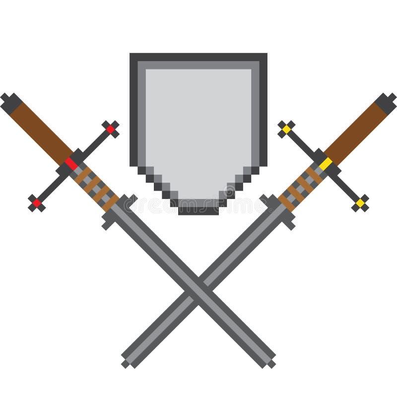 A composição do pixel de dois cruzou espadas e um protetor acima deles ilustração stock