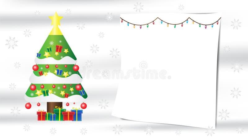 Composição do presente do floco de neve da árvore de Natal no fundo de seda branco com espaço da cópia para seu texto ilustração do vetor