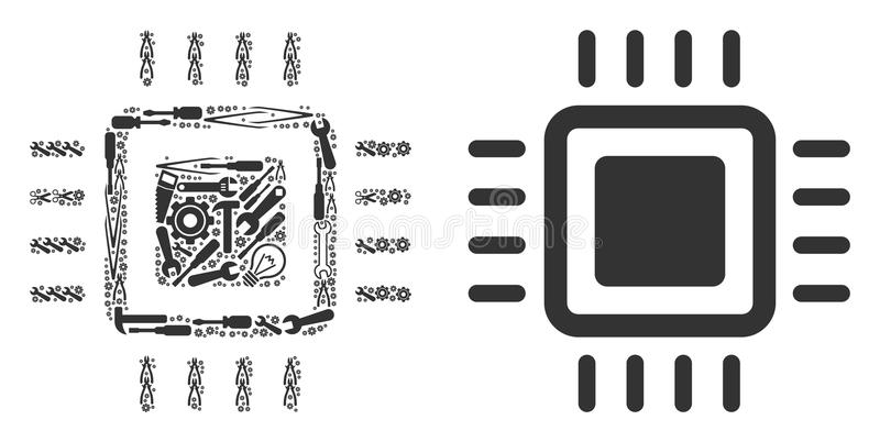 Composição do processador de ferramentas do reparo ilustração stock