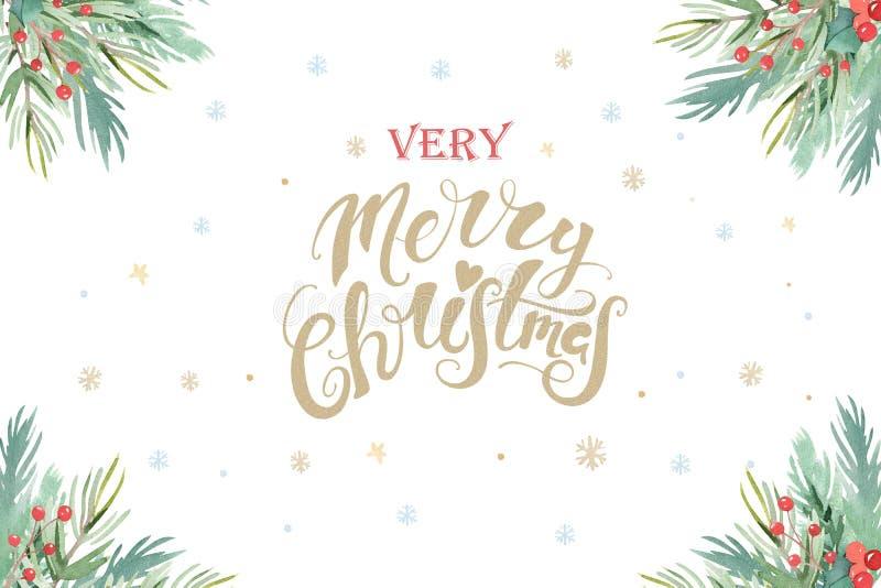Composição do projeto do Natal da aquarela da poinsétia, dos ramos do abeto, dos cones, do azevinho e do outro cartaz das plantas ilustração stock