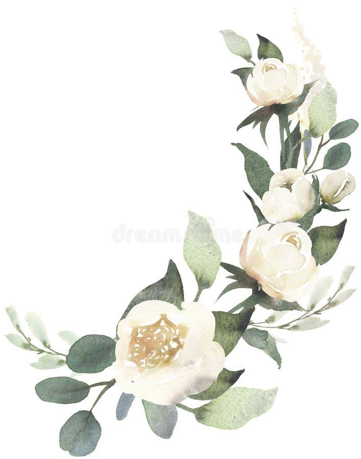 Composição do ramalhete floral do casamento da aquarela com rosas brancas a ilustração royalty free