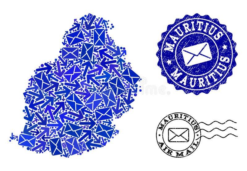 Composição do tráfego do cargo do mapa de mosaico de Mauritius Island e de selos riscados ilustração stock