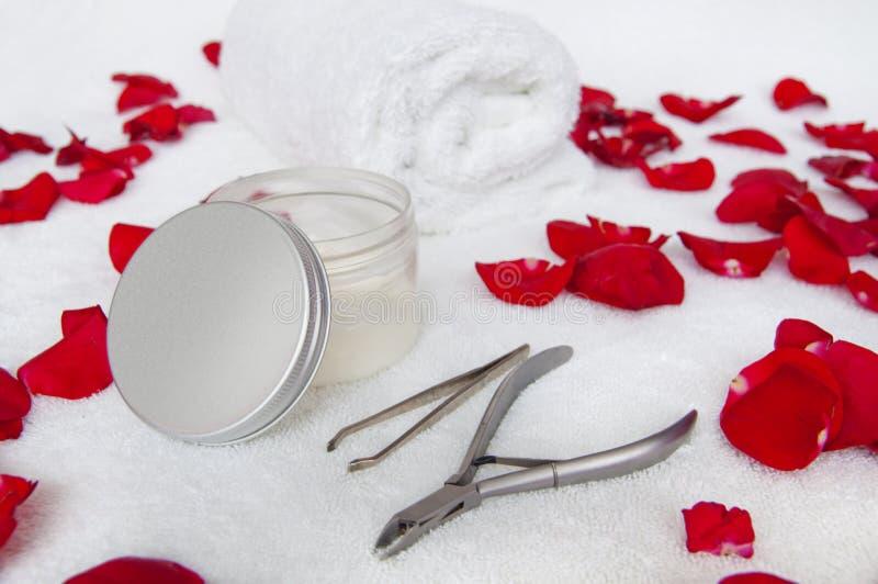 Composição do tratamento de mãos com pétalas cor-de-rosa - pregue alicates, pinça, c fotografia de stock
