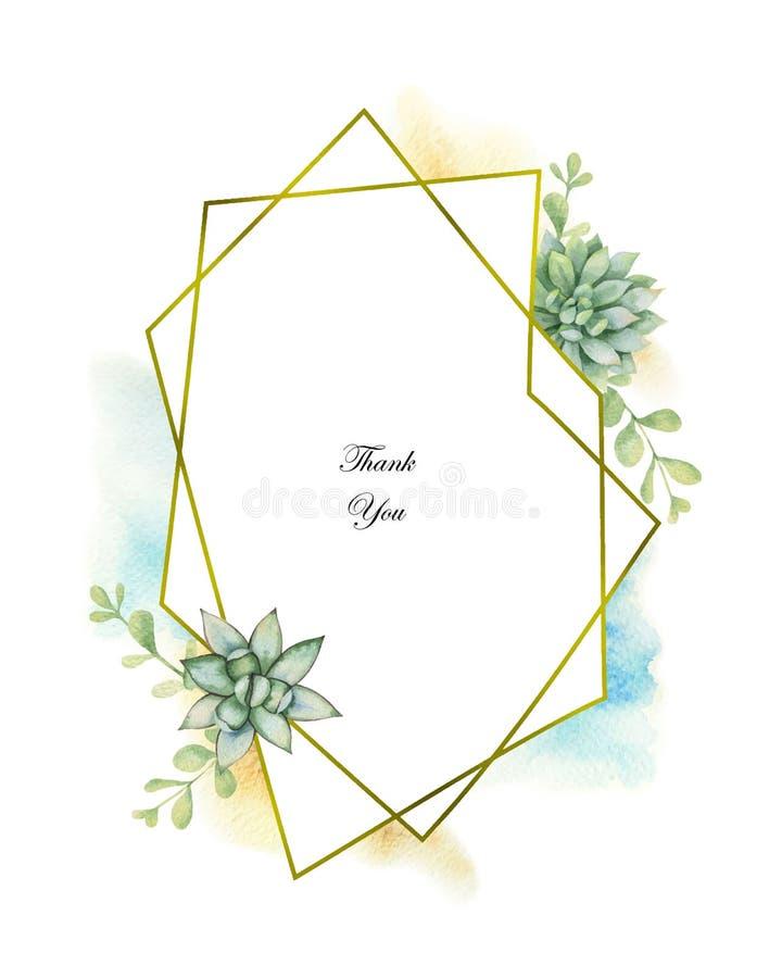 Composição do vetor da aquarela dos cactos e de plantas suculentos e do quadro geométrico do ouro ilustração stock