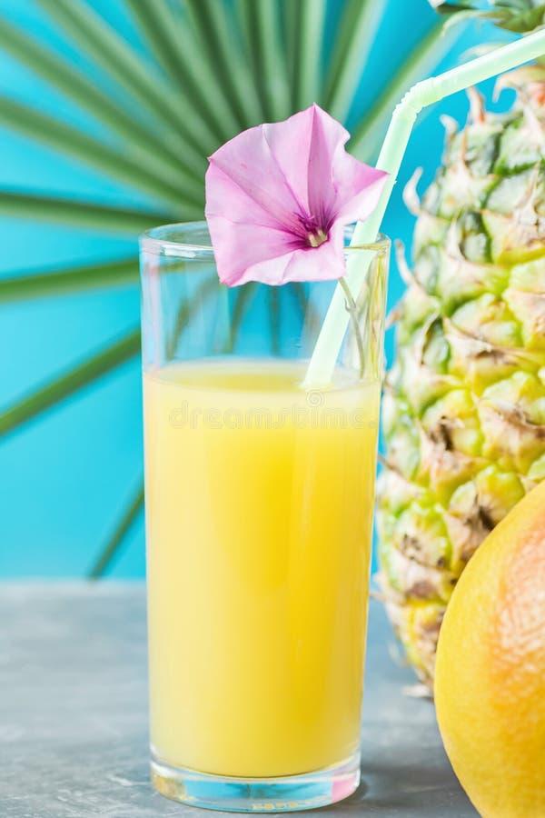 Composição do vidro alto com suco de fruto tropical recentemente espremido com a toranja inteira do abacaxi da palha e da flor imagens de stock royalty free