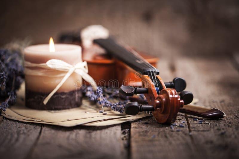 Composição do vintage com violino e alfazema fotografia de stock
