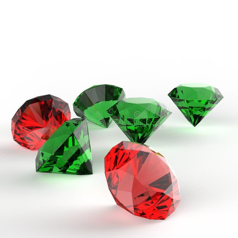 Composição dos diamantes 3d ilustração royalty free