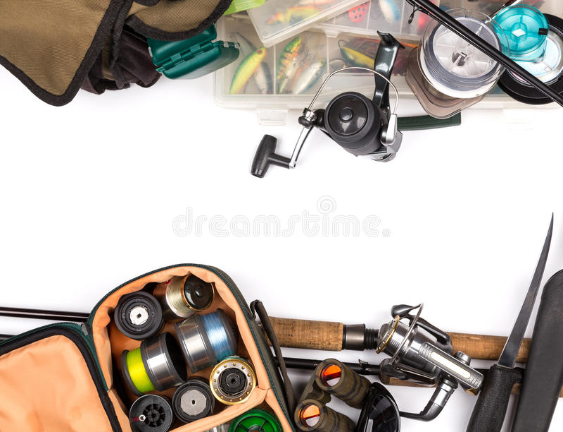 Composição dos equipamentos de pesca no olhar do quadro da parte superior imagem de stock