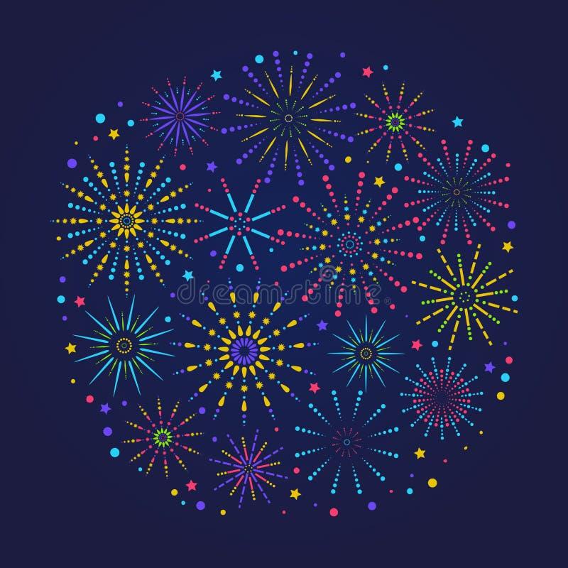 Composição dos fogos de artifício para o festival, o feriado ou o cartaz do vencedor Bandeira na moda das felicitações com os fog ilustração royalty free