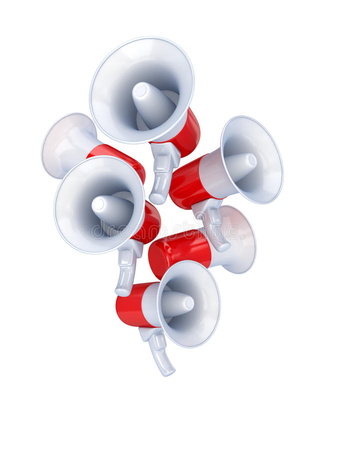 Composição dos megafone. ilustração do vetor