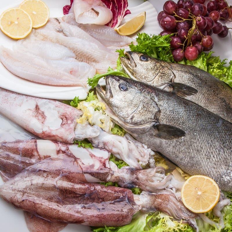 Composição dos peixes do cousine do alimento, ingrediente para comer fotografia de stock royalty free