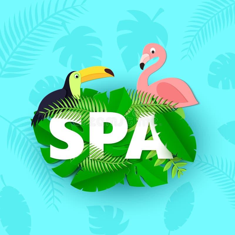 A composição dos TERMAS da palavra com o flamingo verde do tucano das folhas da selva no papel trandy cortou o estilo Folha tropi ilustração royalty free