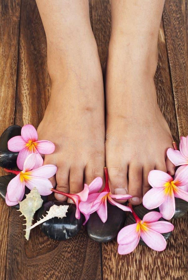 Composição dos termas dos pés e das pétalas foto de stock