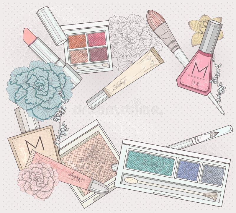 Composição e fundo dos cosméticos. ilustração stock