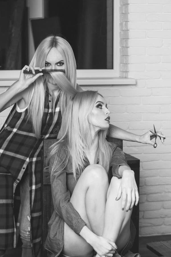 Composição elegante as meninas consideravelmente 'sexy' no salão de beleza, cabeleireiro fazem o penteado imagem de stock royalty free