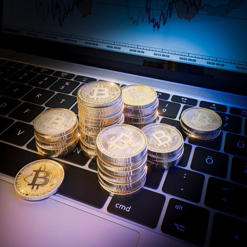 Composição em 3d de moedas de ouro de bitcoin no computador portátil moderno foto de stock