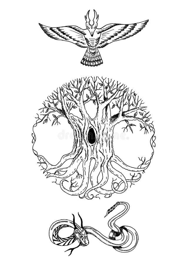 Composição escandinava da mitologia ilustração do vetor