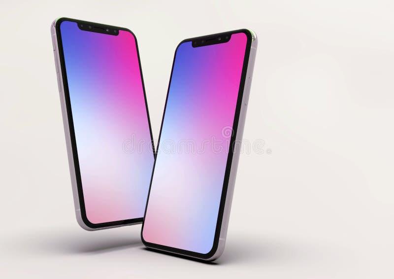 composição esperta de 2 telefones do iPhone XS, tela roxa ilustração royalty free