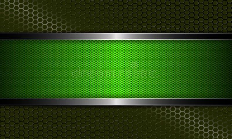 Composição estrutural escura do sumário geométrico com um quadro da cor verde e de uma afiação do metal ilustração stock