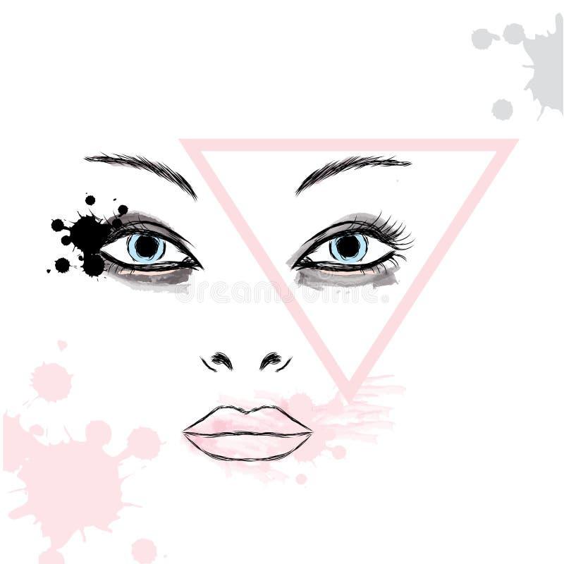 Composição fêmea da cara Retrato de uma menina Forma & estilo Bar da beleza ilustração stock