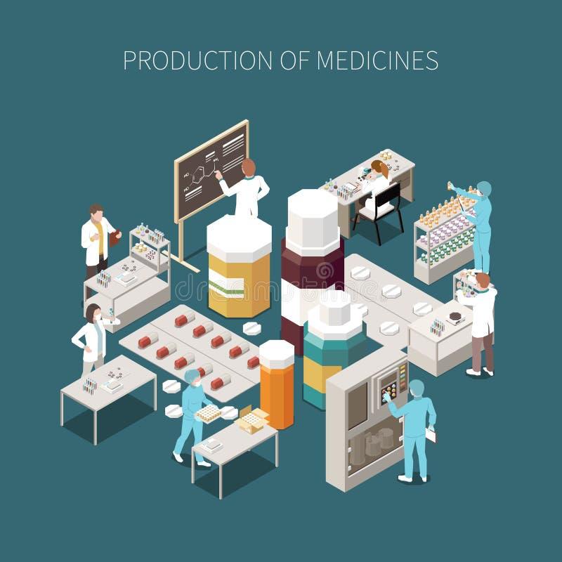 Composição farmacêutica isolada colorida da produção ilustração stock