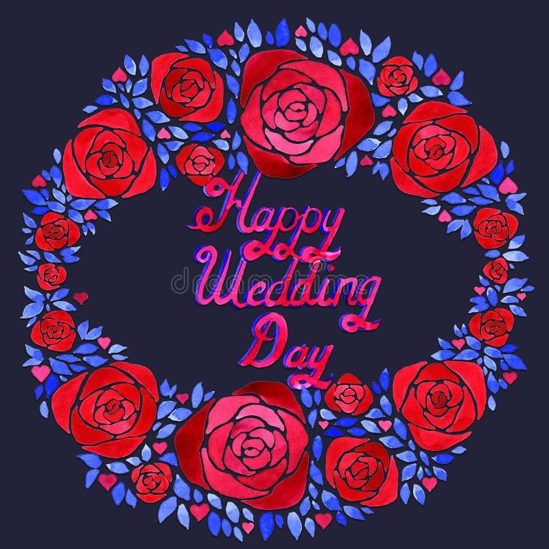 Composição floral da aquarela elegante com as flores azuis e vermelhas Será grande para um convite bonito, cartão ilustração do vetor