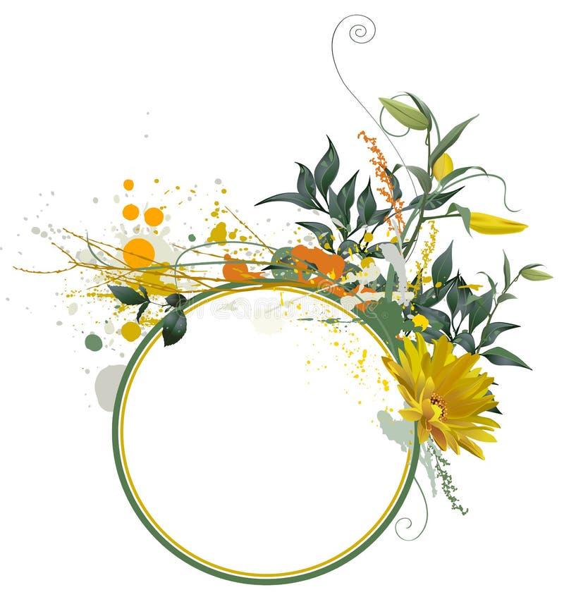 Composição floral de Grunge ilustração royalty free