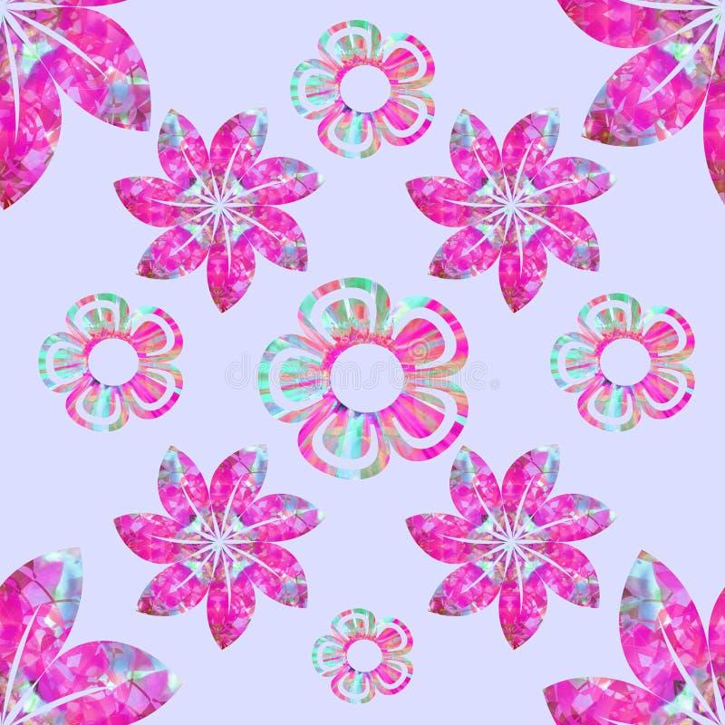 Composição floral do vetor, teste padrão sem emenda, fúcsia, água-marinha, turquesa, fundo lilás liso ilustração royalty free