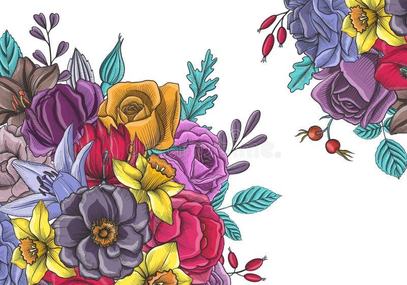 Composição floral do vetor do vintage ilustração stock
