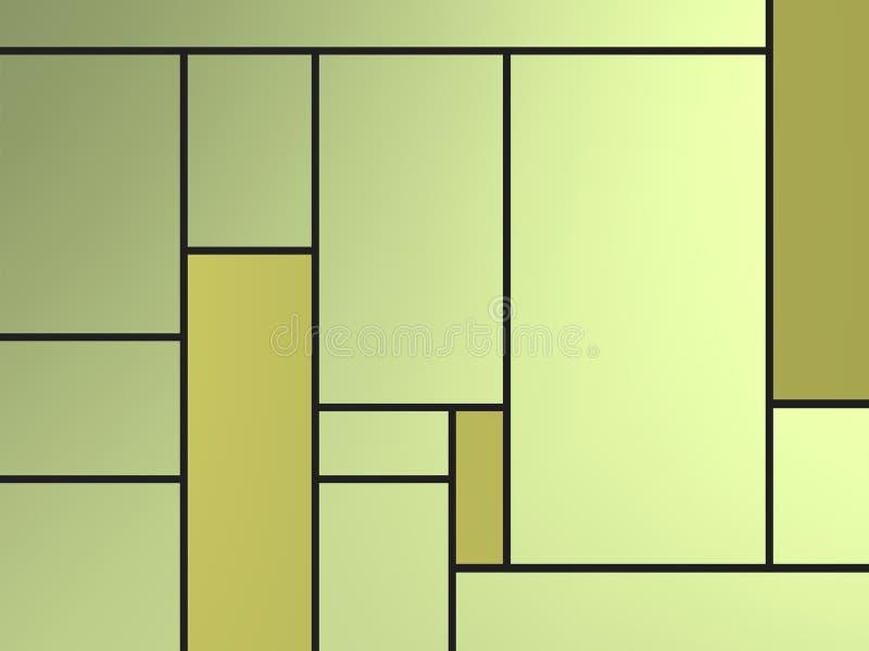Composição geametric dourada do tributo a Mondrian com retângulos verdes sobre o branco ilustração royalty free