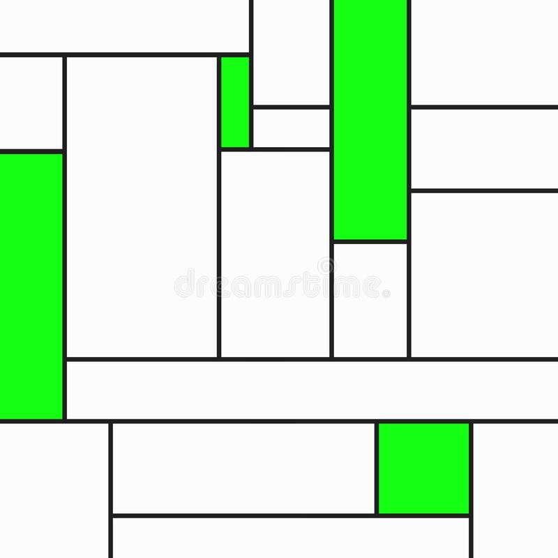 Composição geametric feliz do tributo a Mondrian com retângulos verdes sobre o branco ilustração do vetor
