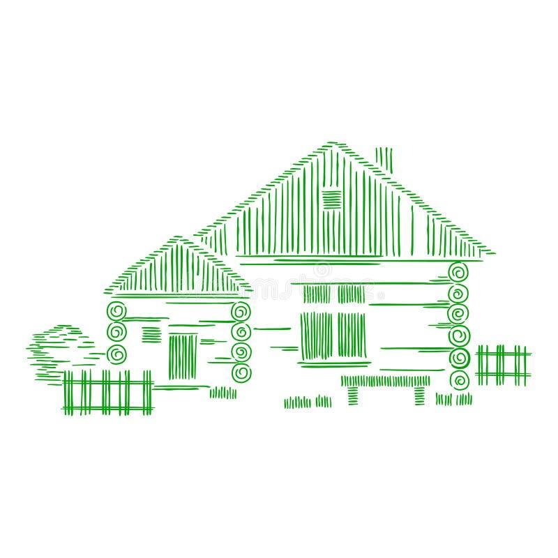Composição gráfica decorativa do vetor com casas de madeira O conceito da construção tradicional ecológica ilustração royalty free