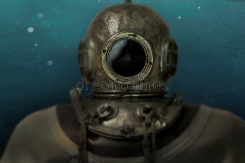 Composição histórica do mergulhador do alto mar imagens de stock