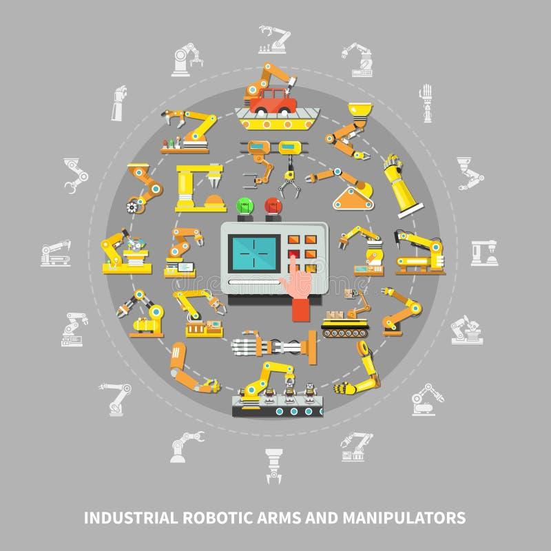 Composição industrial do braço robótico ilustração do vetor